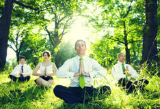 Business People Relaxation Meditating In The Woods Concept Royalty Free Stock Photos