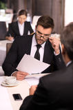 Business people at the restaurant. Royalty Free Stock Images