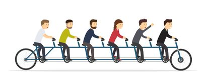 Business people riding on a five-seat bicycle. Team joint concept of success vector illustration