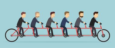 Business people riding on a five-seat bicycle. Stock Images