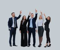 Business people in a row pointing and looking up to copy space isolated on white background. Stock Image