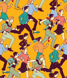 Business people run active carrier color seamless pattern. Royalty Free Stock Photos