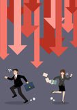 Business people run away from graph down arrows Royalty Free Stock Photos