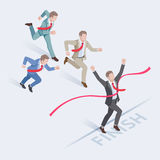 Business people run at the finish line. Business people concepts for success. Group of businessman running at the finish line. Isometric vector illustration Stock Photography