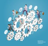 Business people run on gear. Royalty Free Stock Photography