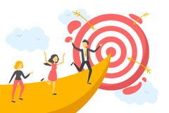 Business people run to the centre of target royalty free illustration
