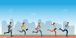 Business people run to finish line team leader competition win. Business competition concept vector illustration stock illustration