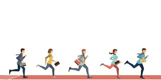 Business people run to finish line team leader competition win isolated on white. Business competition concept vector illustration stock illustration