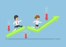 Business People Run to Top of The Graph Through Risky Obstacle. Royalty Free Stock Photography
