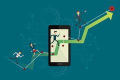 Business people runing on up graph path to goal on mobile. Vecto Royalty Free Stock Photo