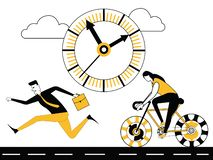 Business people running and cycling royalty free illustration