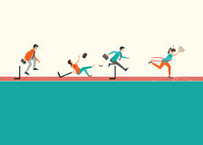 Business people running  and jumping hurdles on red rubber track Royalty Free Stock Photography