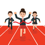 Business people running race competition. With happy businesswoman winning the race breaking finish line,business success conceptual , cartoon flat design vector illustration