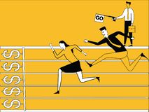 Business people running in race vector illustration