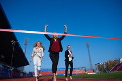 Business people running on racing track Royalty Free Stock Images