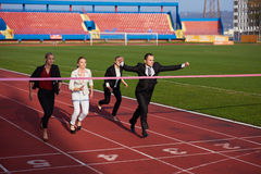 Business people running on racing track Royalty Free Stock Photo