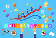 Business People Running Red Arrow Graph Up Royalty Free Stock Photo