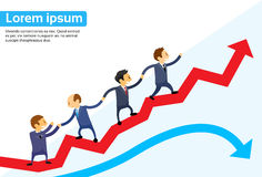 Business People Running Red Arrow Graph. Up Climbing Cartoon Businesspeople Group Team Vector Illustration Stock Photos
