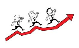 Business people running on the red graph. motivation success concept. isolated  illustration outline hand drawn doodle line. Business people running on the red Stock Photo