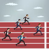 Business people running on red rubber track. Stock Images