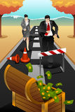 Business people running on the road reaching a goal Royalty Free Stock Photo