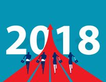 Business people running to 2018. Concept business success vector. Illustration. Flat design style Royalty Free Stock Images