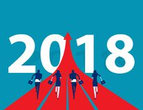 Business people running to 2018. Concept business success vector. Illustration. Flat design style Stock Image