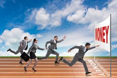 The business people running towards money goal. Business people running towards money goal Royalty Free Stock Photo