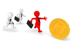 Business people runs, pursuing a gold coin. 3d illustration Royalty Free Stock Photography