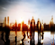 Business People Rush Hour Walking Commuting City Concept.  Stock Photos