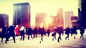 Business People Rush Hour Walking Commuting City Concept.  Royalty Free Stock Photo