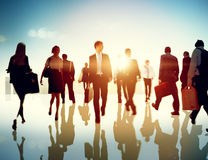 Business People Rush Hour Walking Commuting City Concept Stock Photos