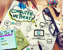 Business People's Desk with Computer Network Concept Stock Photography