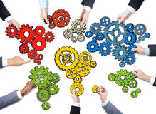 Business People s Hands with Gear Symbol.  Royalty Free Stock Images