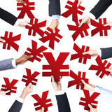 Business People's Hands Holding Yen Symbols Royalty Free Stock Images