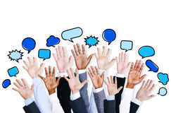 Business People's Hands Raised with Speech Bubble Royalty Free Stock Photo