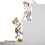 Business people sabotaging each other. Vector illustration of cartoon businessmen trying to climb the social ladder whilst sabotaging each other (close-up Stock Photography