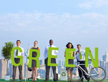 Business People in a Scene and Green Concepts. Business People in an Urban Scene and Green Concepts stock photography