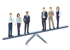 Business people on seesaw. Business people stood on seesaw with white background Stock Photo