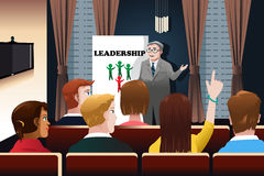 Business people in a seminar. A vector illustration of business people in a seminar for leadership concept Stock Images