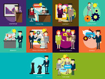 Business People. Set of great flat icons with style long shadow icon and use for business, people, marketing, working, idea, event and much more Royalty Free Stock Images