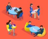 Business People Set Isolated on Orange Background. royalty free illustration
