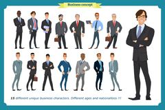 Business people set of men in suits isolated vector on a white. Beard styling stylish hairstyle office.People character set in various poses different royalty free illustration