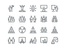 Business people. Set of outline vector icons. On a white background Royalty Free Stock Photo