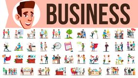 Business People Set Vector. Meeting, Talking, Communicating, Discussion, Person Working Together. Lifestyle Office. Business People Set Vector. Office Lifestyle stock illustration