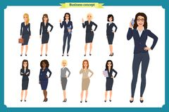 Business people set of women`s. Businesswoman character design.Teamwork vector illustration