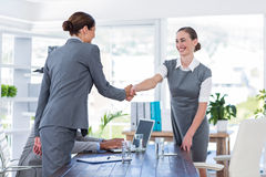 Business people shake hands during interview Royalty Free Stock Images