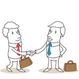 Business people shaking hands. Vector illustration of monochrome cartoon characters: Business people with briefcases shaking hands Royalty Free Stock Photo