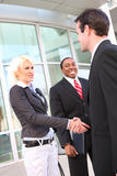 Business people shaking hands. Three business people at an introductory meeting smiling and shaking hands royalty free stock images