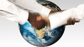 Business people shaking hands against the world. Multicultural world and Solidarity concepts stock video